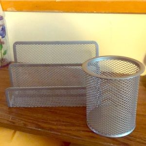 Other - Metal letter holder & metal pencil cup